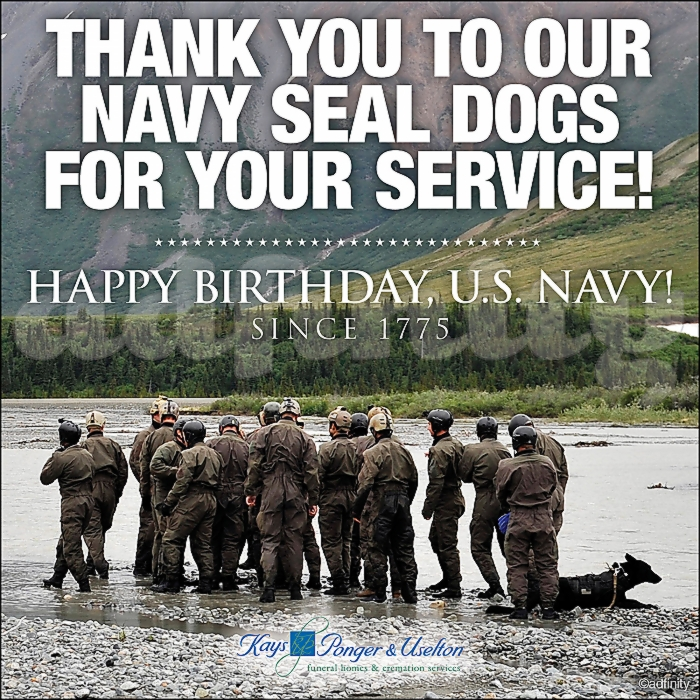 091514 Thank you to our Navy Seal Dogs for your service! Happy Birthday US Navy! Happy Birthday Navy Facebook meme.jpg