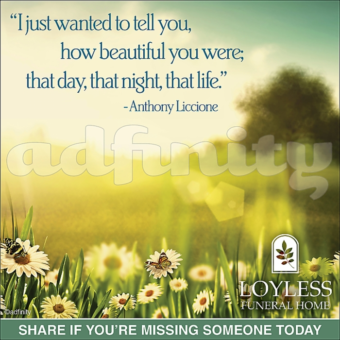 021604 I just wanted to tell you, how beautiful you were; that day, that night, that life. Anthony Liccione Viral Share Facebook ad.jpg
